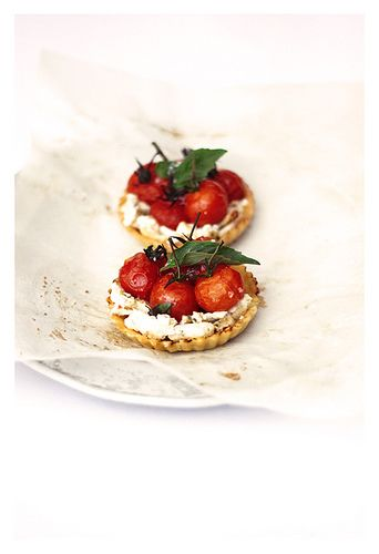 Roast Cherry Tomato, Goat Cheese & Basil Tartlets