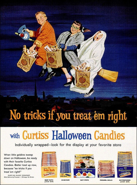 Splendidly fun Curtiss Halloween candy ad from the early 60s. Love the little girl's green cat's eye glasses!!