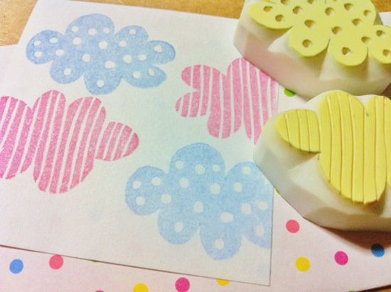 clouds rubber stamp. hand carved rubber stamp. handmade rubber stamp. set of 2. no1.. $12.00, via Etsy.