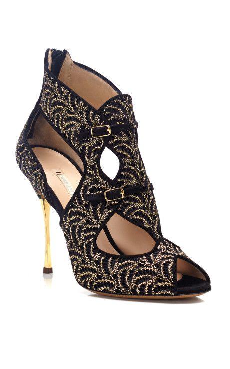 Lace Stamped Gilded Heel Sandal by Nicholas Kirkwood