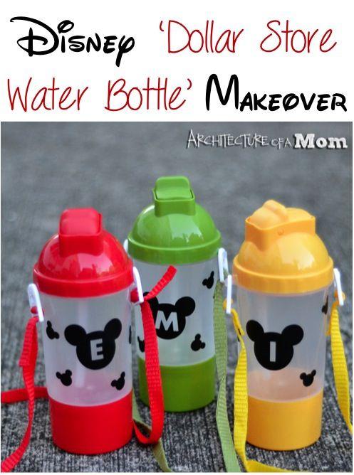 Disney Dollar Store Water Bottle Makeover! #disney #mickey #crafts #silhouette