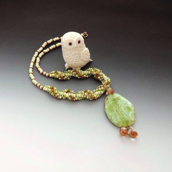 Jewelry Spiral Necklace Pendant Green Agate by CalliopeAZCreations, $45.00
