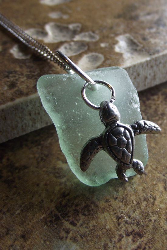 sea glass with turtle