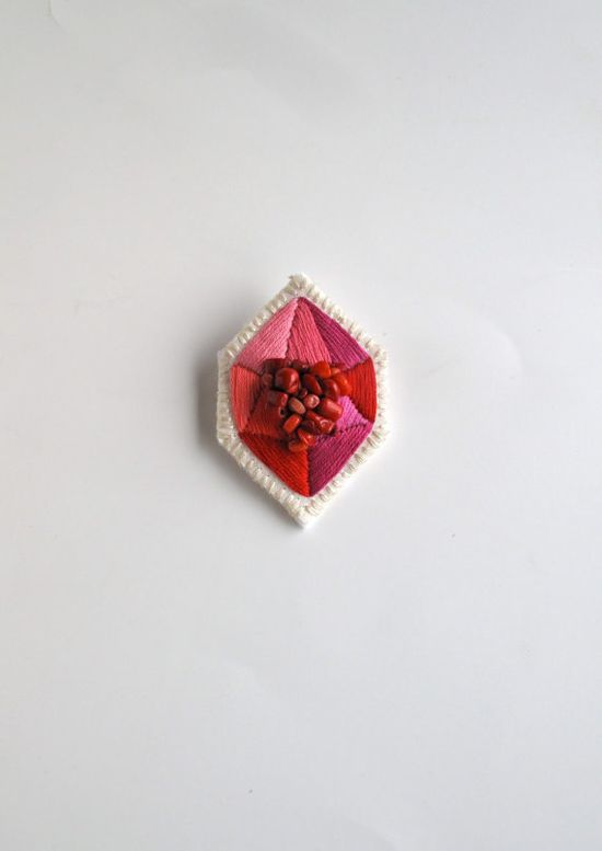 Geometric embroidered pink and red brooch faux by AnAstridEndeavor