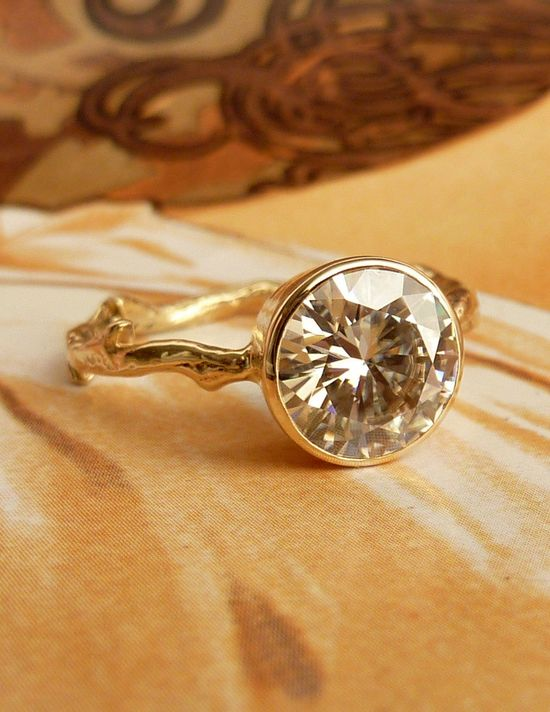 Moissanite Solitaire Branch Ring. $1,995.00, via Etsy.
