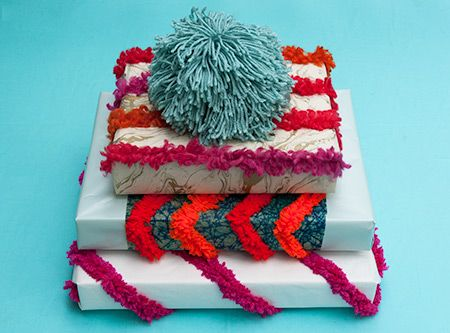 How to make your own Yarn Shag Gift Wrap.