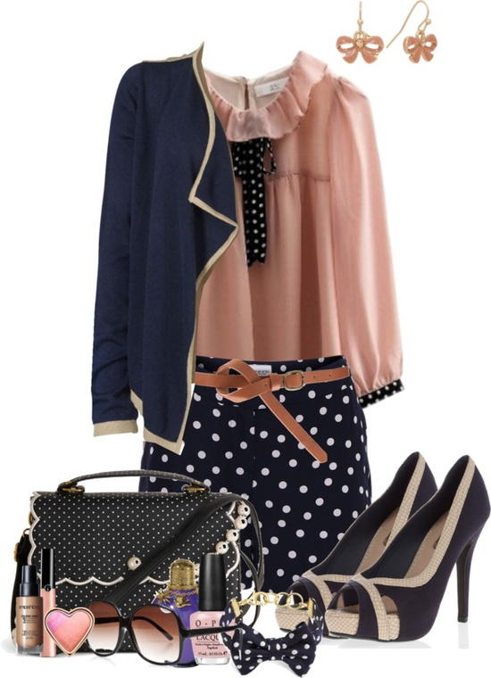 """Navy Pink"" by snowshoekittens ❤ liked on Polyvore"