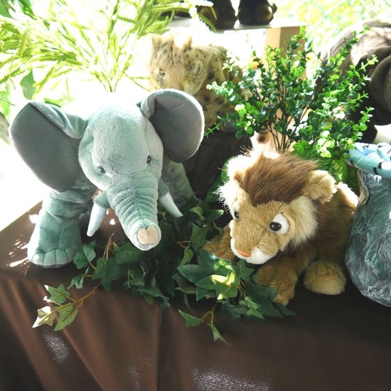 Lots of decoration ideas using stuffed animals at a  Jungle birthday party!   See more party ideas at CatchMyParty.com!  #jungle #partyideas