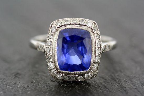 Antique Art Deco Ring - Vintage Sapphire & Diamond Art Deco Ring