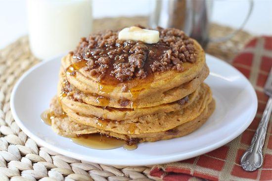 Pumpkin Cinnamon Streusel Pancake Recipe on twopeasandtheirpo... The BEST pumpkin pancakes!