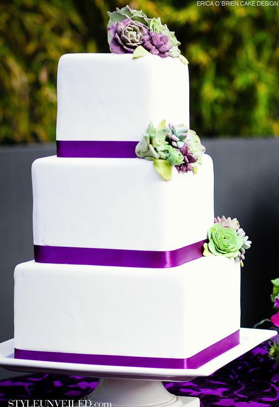 Wedding Cake Topped with FondantSucculents