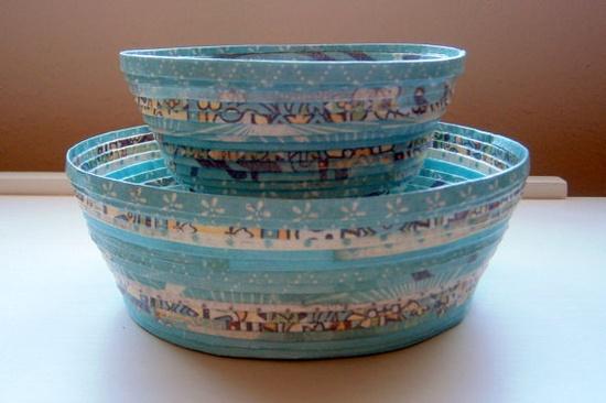 Handmade Paper Basket  Aqua small by BlueTangDesigns on Etsy, $15.00