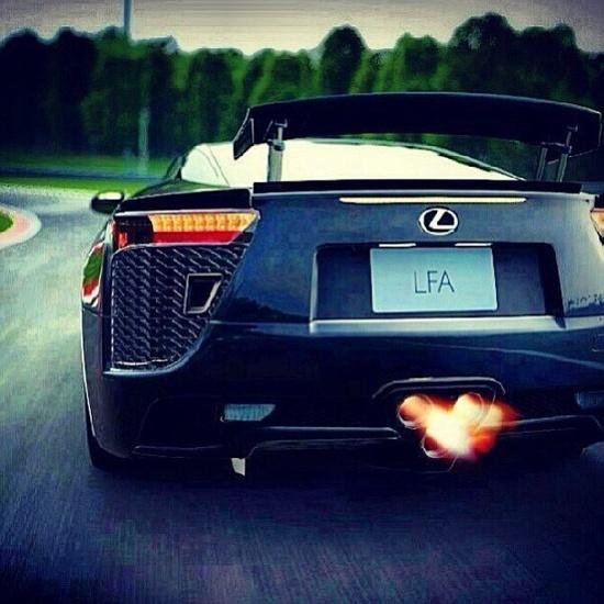 Flaming Lexus LFA BOOM!