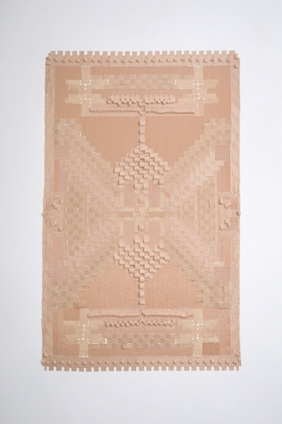 hand made rug in pale pink.