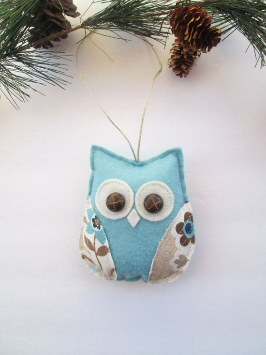 owl ornament, blue and brown owl, decorative owl, nursery owl decor, tree ornament, holiday decor,  hostess gift under 15. $12.00, via Etsy.