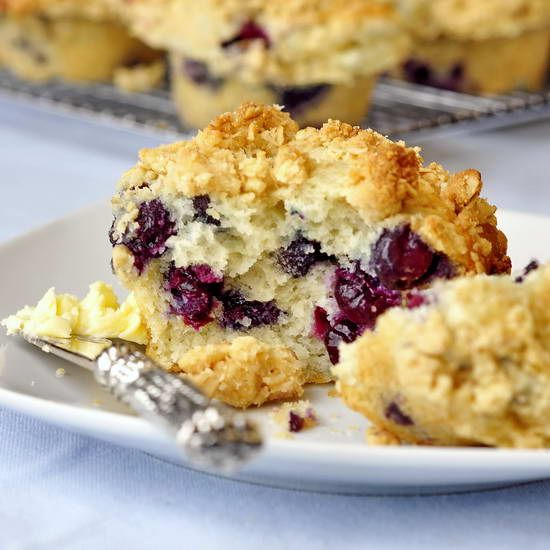 Blueberry Crunch Muffins - the best blueberry muffin recipe ever, combining a moist delicious muffin, bursting with sweet ripe blueberries and crowned by a golden oatmeal crunch topping.