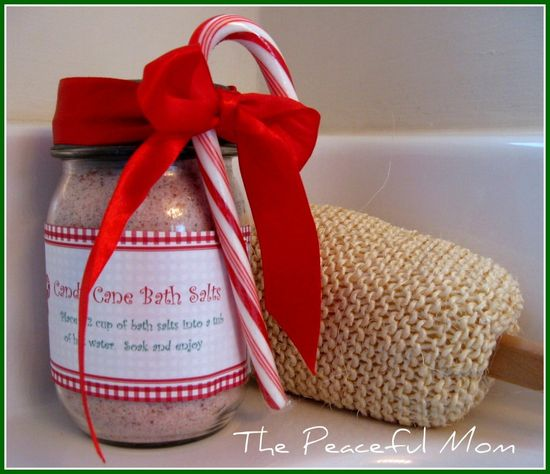 Need a Stress Free Christmas gift?  Make these easy Candy Cane Bath Salts with a FREE printable label!     Ingredients:  2 cups sea salt or Epsom Salt  10-12 drops red food coloring (more if using sea salt)  2 tsp. peppermint extract or peppermint essential oil  glass jar with air tight lid  ribbon or other decorative accents      Directions:  Pour salt into a glass bowl.  Add oil and combine well making sure to remove lumps.    Add the red food coloring 5 drops and a time and stir.  I leave ...