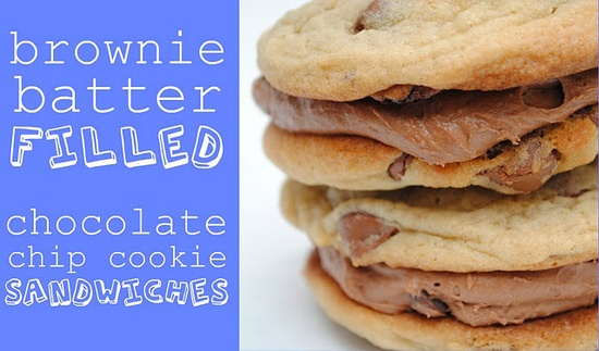 Brownie Batter Filled Chocolate Chip Cookie Sandwiches