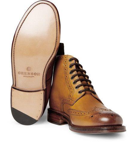Grenson Sharp Leather Brogue Boots