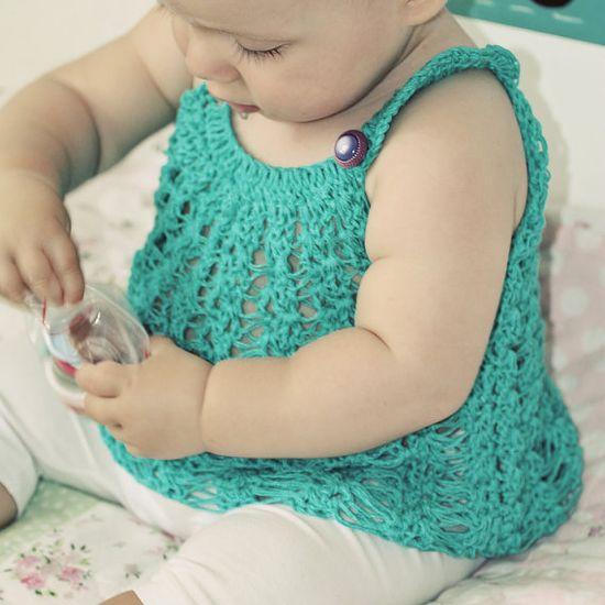 Crochet PATTERN pdf file  Halter Top for baby by monpetitviolon, $3.99