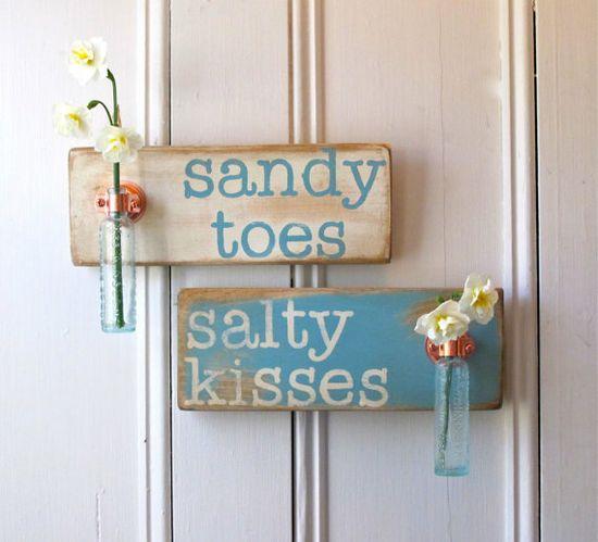 Wall Flower Vases, Sandy Toes Salty Kisses, Pair, Antique Bottle, Copper Hanger, Home Decor, Beach Decor, Cottage