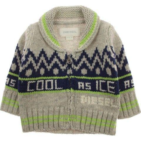 Diesel Baby Boys Grey Knitted Cardigan
