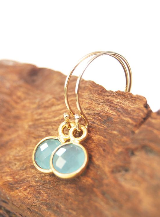 Hokule'a earring - blue chalcedony gold earring, tiny gold earring, aqua gold earring, hawaii bridesmaid jewelry, aqua bridesmaid earring via Etsy
