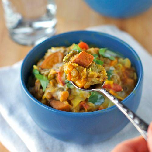 lentils and sweet potatoes.