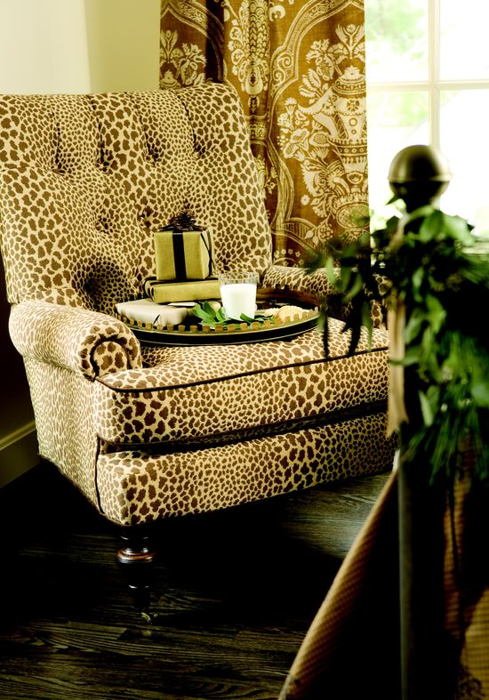 Chair in an animal print.