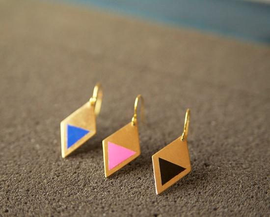 Neon Diamond Earrings. $25.00, via Etsy.