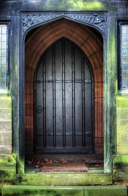 Rear door of All Saints Church in Daresbury, England. Look at those colors!!