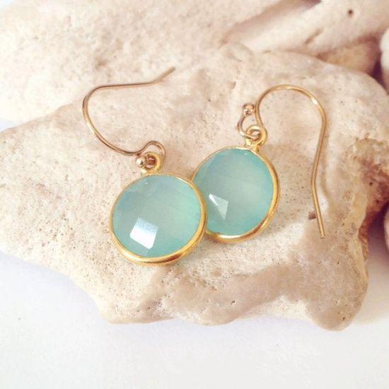 Aqua Chalcedony Earrings, Aqua Stone Earrings, Aqua Bridesmaid Earrings, Mint Stone Earrings, Mint Bridesmaid Earrings by Aina Kai
