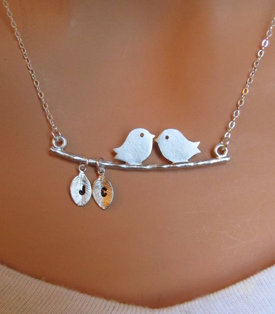 Kissing birds necklace with initials. This is so cute!