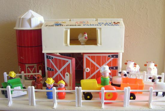 Vintage Fisher Price Family Play Farm Animals Barn Silo Tractor Truck. I still collect all these fisher price toys! Love them!