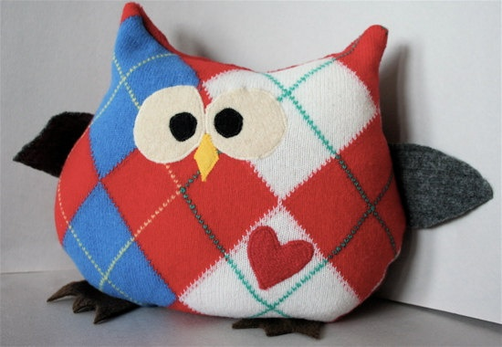 Upcycled stuffed animal made from argyle wool sweaters - Hoot by NobleUpcycling on Etsy, $26.00