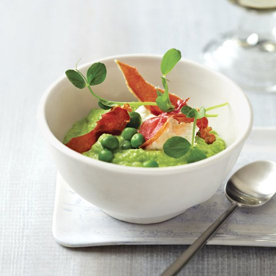 Pea Porridge with Fresh Cheese and Ham // More Terrific Recipes with Peas: www.foodandwine.c... #foodandwine