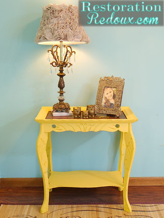 Love this Antique Yellow Table redo!