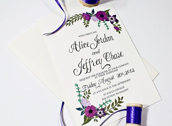 Floral Hand Painted Wedding Invitation in Purple