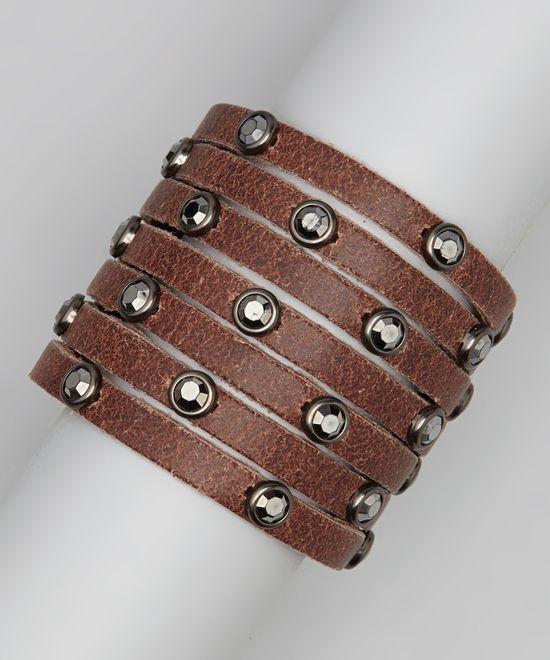 Brown Leather Hematite Stone Bracelet.