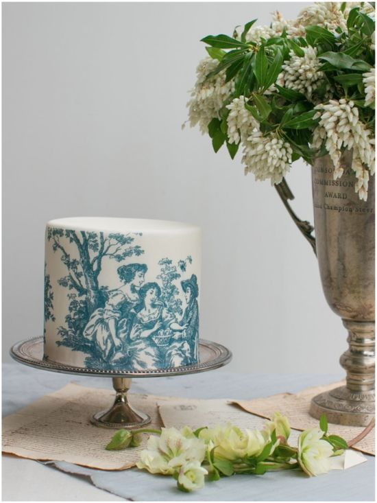 toile wedding cake