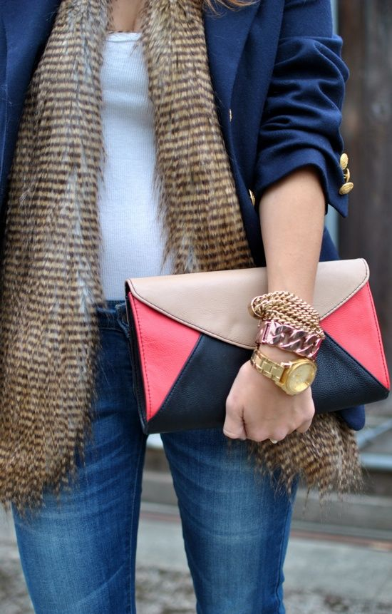 fur, clutch, gold and rose gold bracelets
