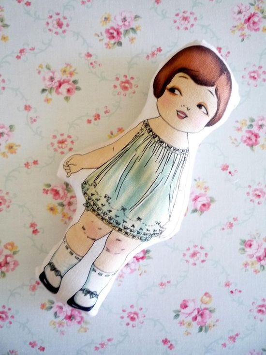 Paper doll vintage inspired cloth doll