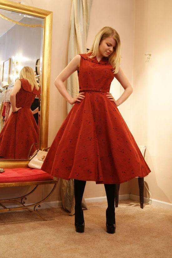 50's Dress // Vintage 1950's Polka Dot Vicky by xtabayvintage, $198.00