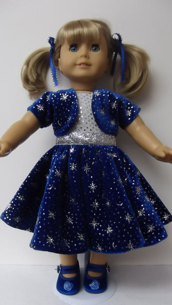 American Girl doll clothes  Blue Velvet Snowflake by susiestitchit, $19.50