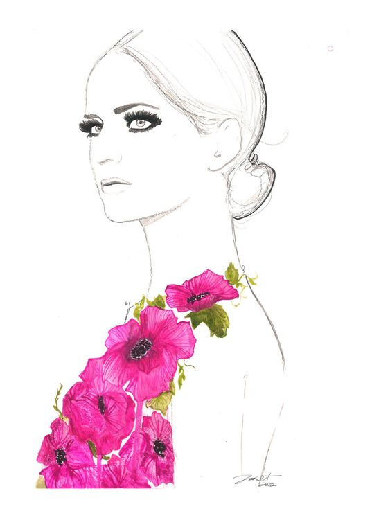 Print from original watercolor and pen fashion illustration by Jessica Durrant titled Always the Flower Child