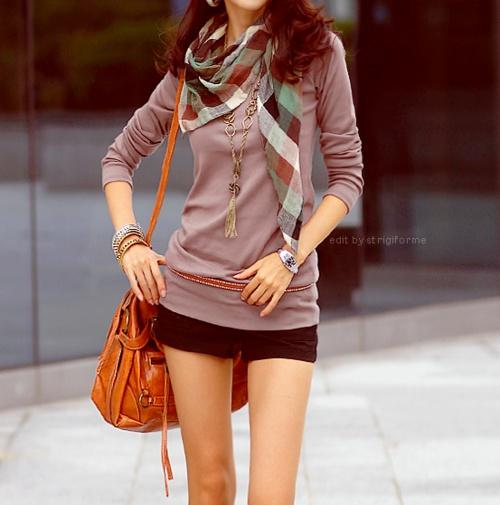 summer shorts.  cute scarf.