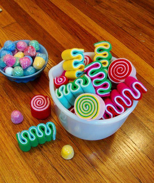 Felt candy... would look super cute as garland