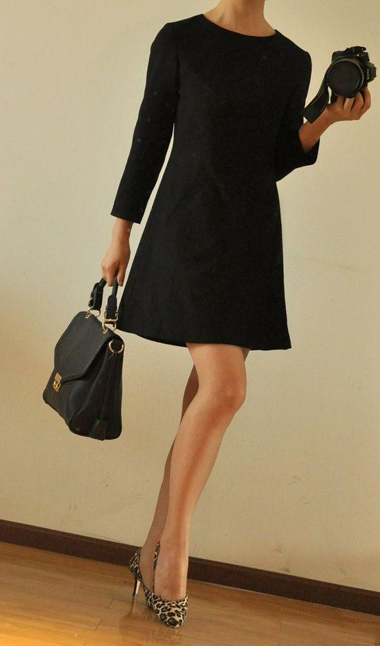 White Silk Petterpan Collar Black Virgin Wool 3/4 by yystudio, $249.80