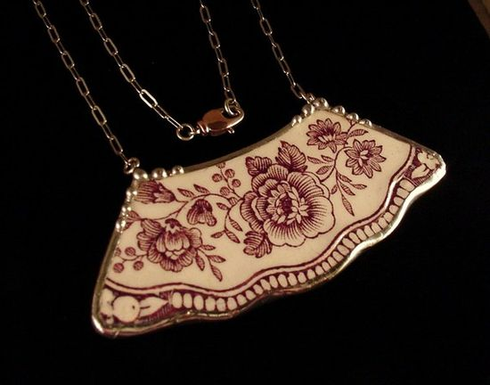 Broken china necklace made from purple transferware plate ...made by Laura Beth Love, Dishfunctional Designs