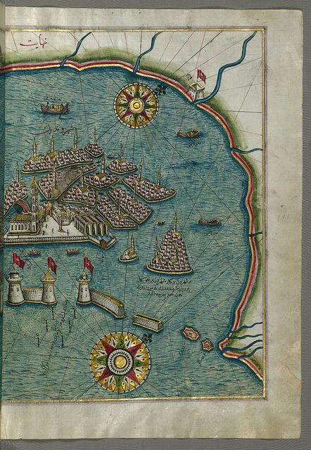 """Eastern Venice Map. Originally composed in 1525 and dedicated to Sultan Süleyman I (""""The Magnificent"""")"""